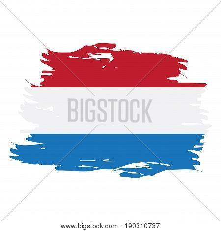 Isolated grunge textured Dutch flag, Vector illustration