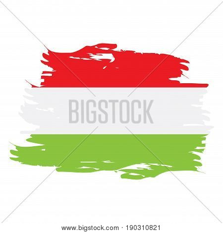 Isolated grunge textured Hungarian flag, Vector illustration
