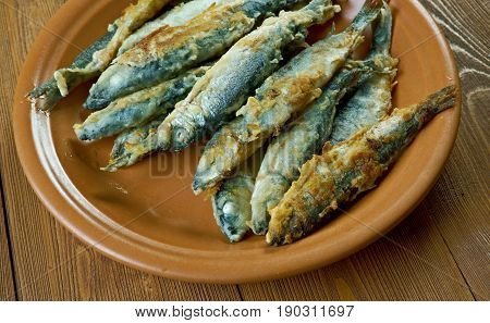 Finnish style Fried whitefish- friteerattu nahkiainen. close up