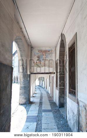 27 may 2017-vittorio veneto-Ancient historic portico in the city of Vittorio Veneto Veneto