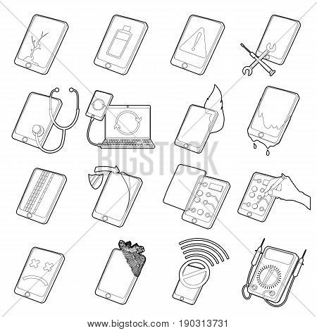 Repair phones fix icons set. Outline illustration of 16 repair phones fix vector icons for web