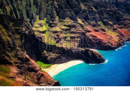 Aerial Landscape View Of Honopu Arch At Na Pali Coastline, Kauai, Usa