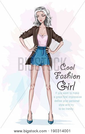 Beautiful fashion girl with long legs. Stylish woman in fashion clothes with arms akimbo. Sketch. Hand drawn cool girl. Vector illustration.