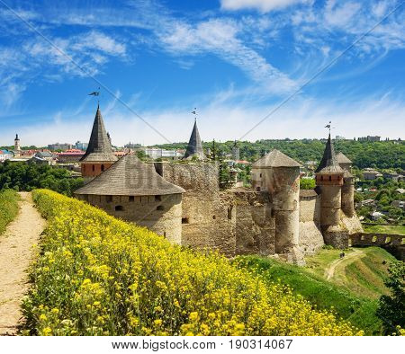 Picturesque view on the Castle in Kamyanets-Podilsky in May Ukraine