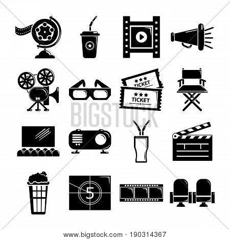 Cinema icons set symbols. Simple illustration of 16 cinema symbols vector icons for web