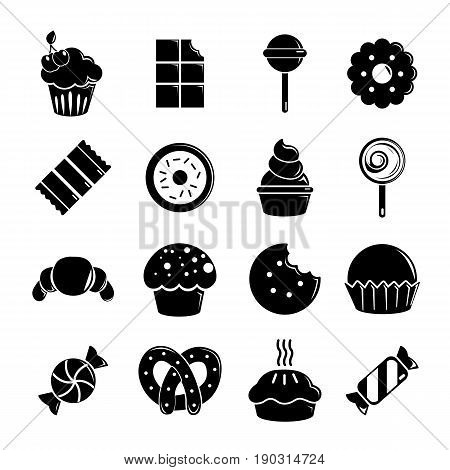 Sweets candy cakes icons set. Simple illustration of 16 sweets candy cakes vector icons for web
