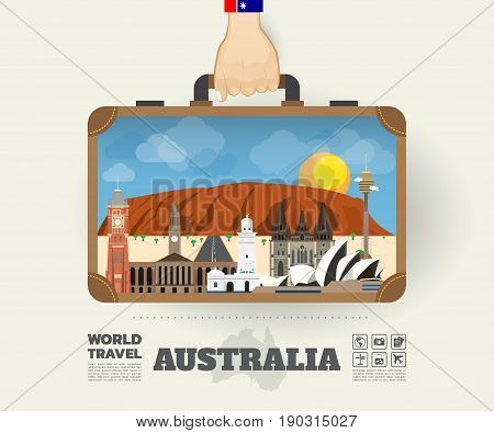 Hand Carrying Australia Landmark Global Travel And Journey Infographic Bag. Vector Design Template.v