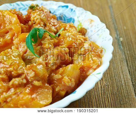 Jamaican Pumpkin Rice Recipe With Saltfish. close up