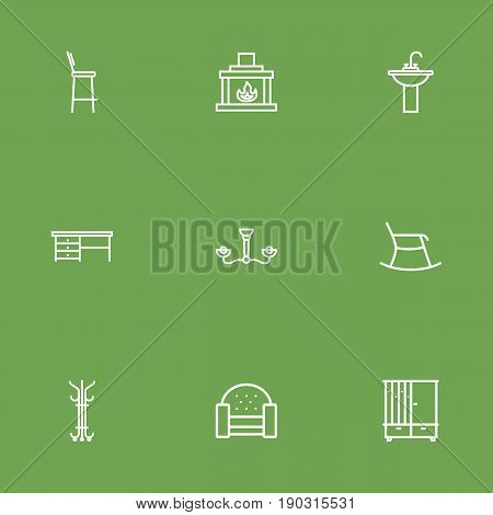 Set Of 9 Situation Outline Icons Set.Collection Of Desk, Hall Tree, Hanger And Other Elements.