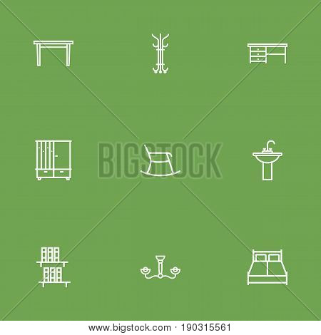 Set Of 9 Set Outline Icons Set.Collection Of Desk, Double Bed, Table And Other Elements.