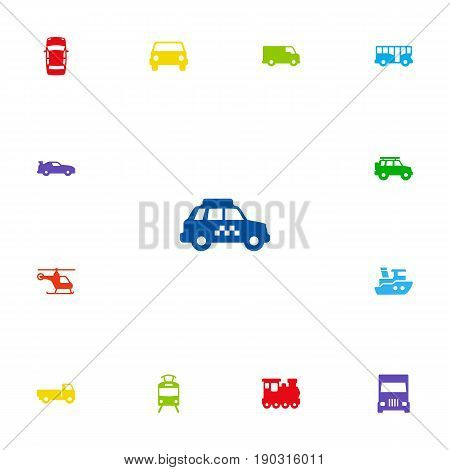 Set Of 13 Traffic Icons Set.Collection Of Truck, Taxicab, Car And Other Elements.