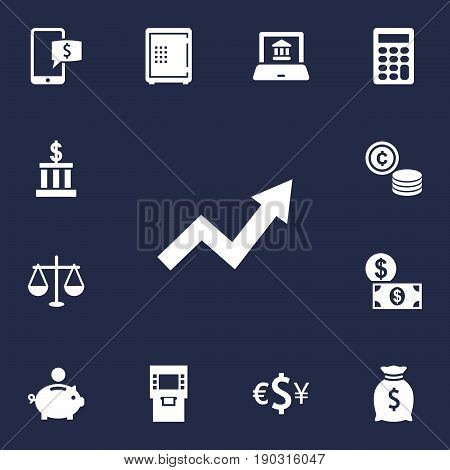 Set Of 13 Finance Icons Set.Collection Of Terminal, Cash, Sack And Other Elements.