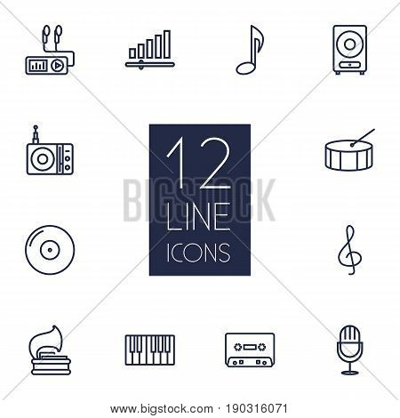 Set Of 12 Music Outline Icons Set.Collection Of Note, Musical Sign, Vinyl And Other Elements.