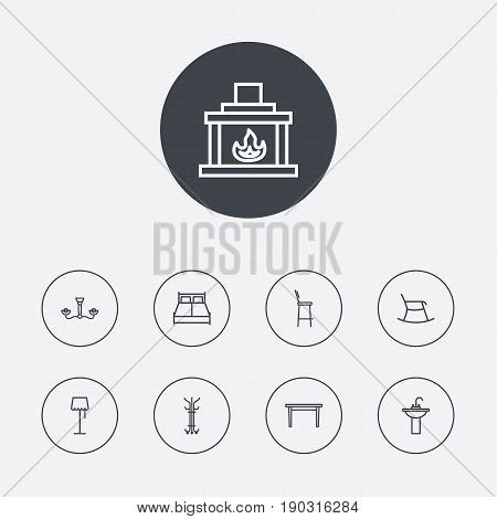 Set Of 9 Decor Outline Icons Set.Collection Of Double Bed, Washbasin, Fireplace And Other Elements.