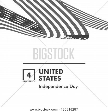 Happy Independence Day. Blue and Red color Curly twisted Flag of USA set. July Fourth United States federal holiday 3d vector illustration.