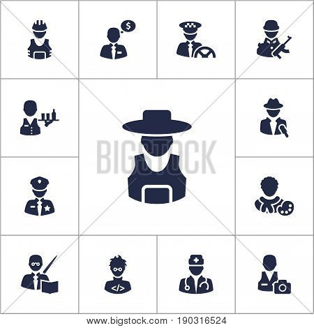 Set Of 13 Job Icons Set.Collection Of Working, Tray, Money Agent And Other Elements.