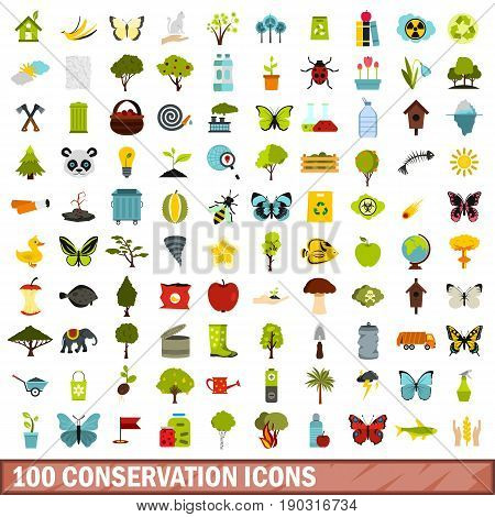 100 conservation icons set in flat style for any design vector illustration