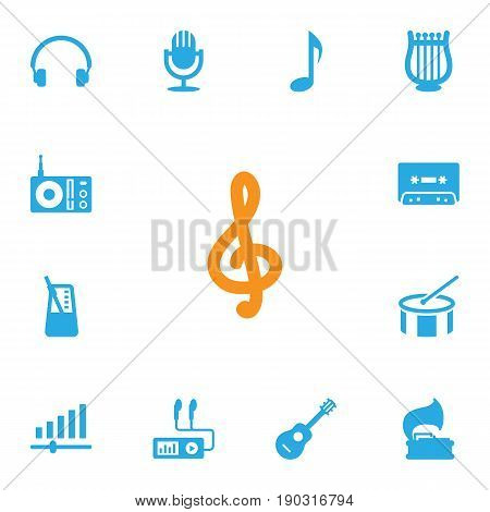 Set Of 13 Song Icons Set.Collection Of Tone Symbol, Tambourine, Turntable And Other Elements.