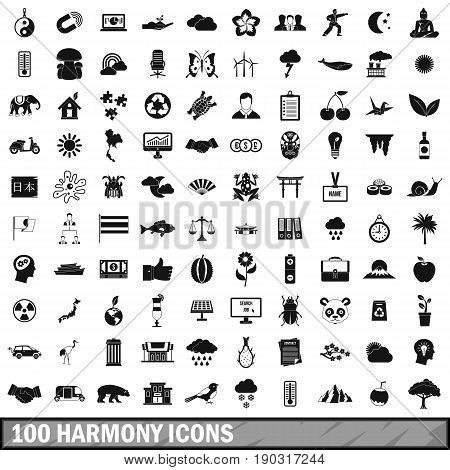100 harmony icons set in simple style for any design vector illustration