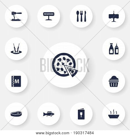 Set Of 13 Cafe Icons Set.Collection Of Vermicelli, Catsup, Tuna And Other Elements.