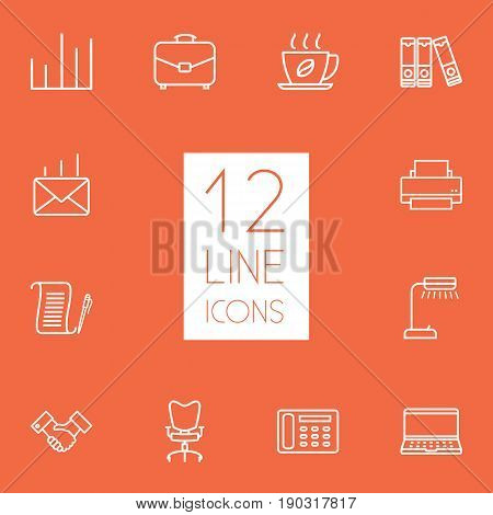 Set Of 12 Bureau Outline Icons Set.Collection Of Printing Machine, Notebook, Contacts And Other Elements.