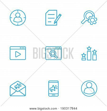 Set Of 9 Optimization Outline Icons Set.Collection Of Item Identifier, Marketing, Advertising And Other Elements.