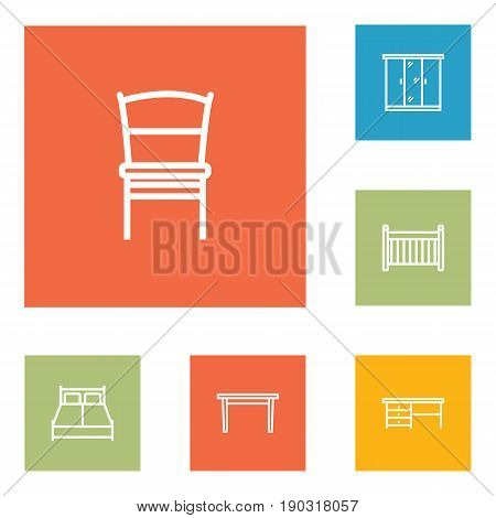 Set Of 6 Set Outline Icons Set.Collection Of Crib, Closet, Table And Other Elements.