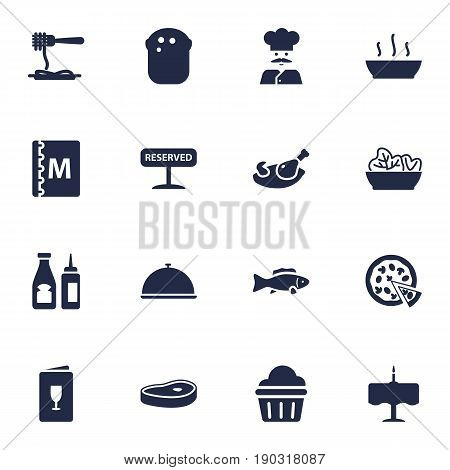 Set Of 16 Restaurant Icons Set.Collection Of Baguette, Catsup, Alcohol And Other Elements.