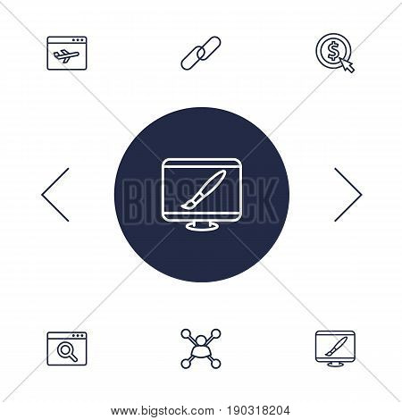 Set Of 6 Optimization Outline Icons Set.Collection Of Cost Per, Stock Exchange, Web Design And Other Elements.
