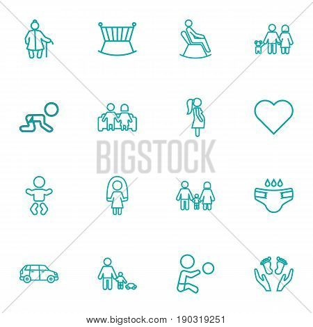 Set Of 16 Family Outline Icons Set.Collection Of Car, Crib, Couple And Other Elements.