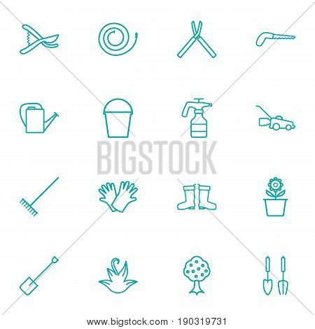 Set Of 16 Horticulture Outline Icons Set.Collection Of Arm-Cutter, Herb, Safer Of Hand Elements.