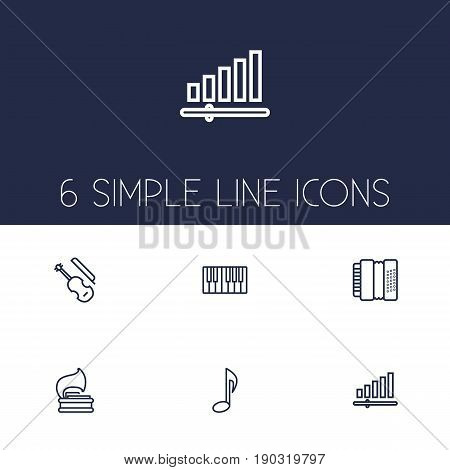 Set Of 6 Melody Outline Icons Set.Collection Of Fiddle, Harmonica, Audio Level And Other Elements.