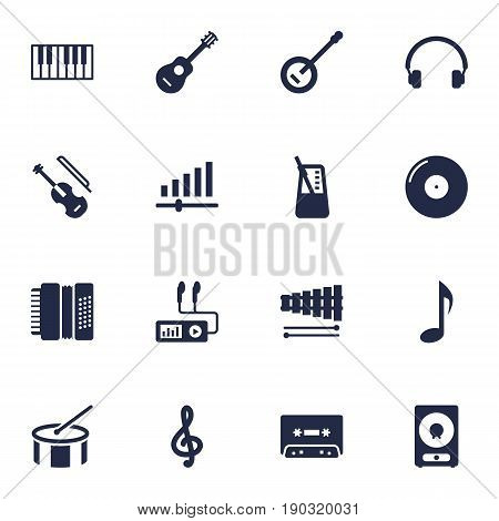 Set Of 16 Music Icons Set.Collection Of Audio Device, Banjo, Octave Keyboard And Other Elements.