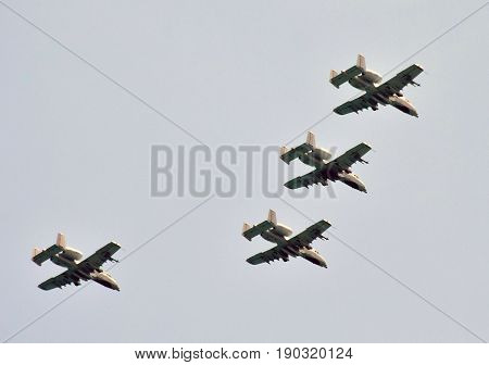 Jetfighters flying in formation at high altitude