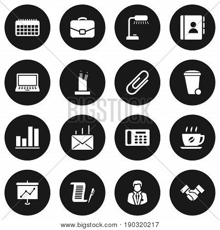 Set Of 16 Bureau Icons Set.Collection Of Address Book, Telephone, Table Lighter And Other Elements.