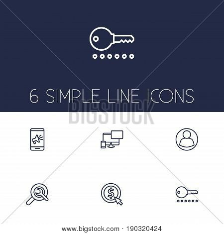 Set Of 6 Search Outline Icons Set.Collection Of Guest, Cost Per, Style And Other Elements.