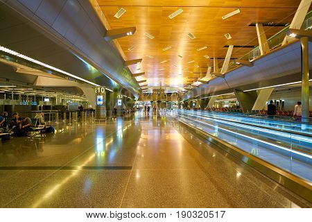 DOHA, QATAR - CIRCA MAY, 2017: inside Hamad International Airport of Doha, the capital city of Qatar.