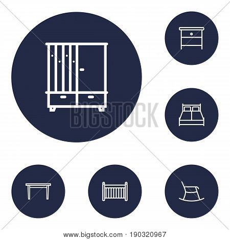 Set Of 6 Situation Outline Icons Set.Collection Of Double Bed, Table, Hall Tree And Other Elements.