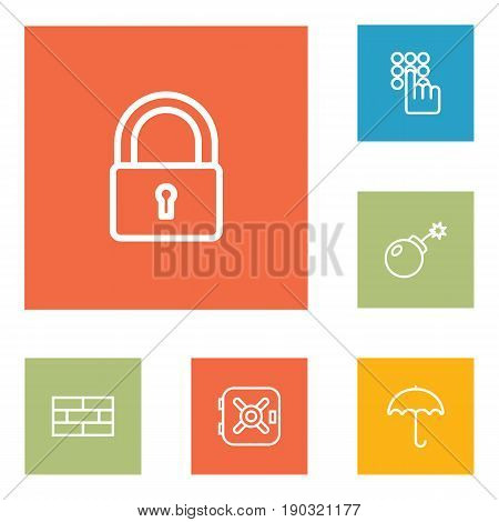 Set Of 6 Safety Outline Icons Set.Collection Of Firewall, Safe, Dynamite And Other Elements.