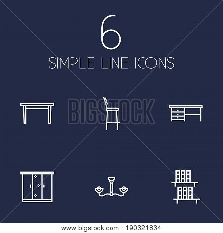 Set Of 6 Decor Outline Icons Set.Collection Of Desk, Closet, Bookshelf And Other Elements.