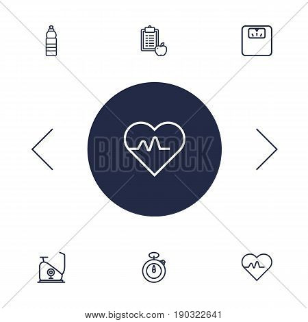 Set Of 6 Bodybuilding Outline Icons Set.Collection Of Diet, Stopwatch, Exercise Bike And Other Elements.