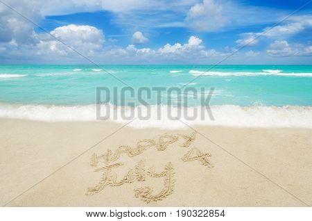 Independence USA background on the sandy beach near ocean
