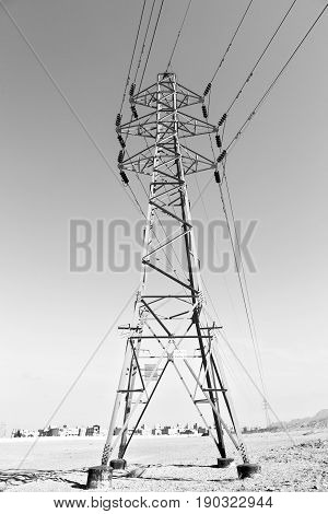 In Iran Electrical Pylon In The  Sky