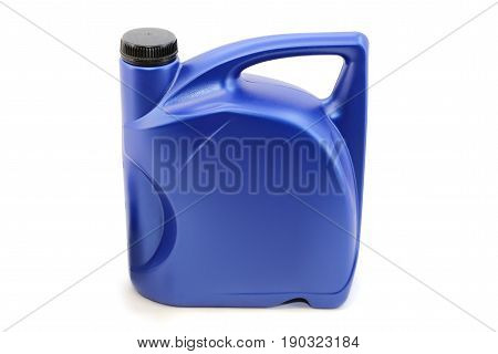 Engine oil in a blue canister on a white background isolation