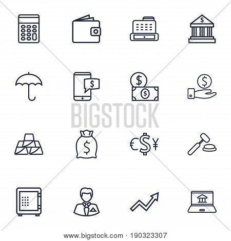 Set Of 16 Finance Outline Icons Set.Collection Of Businessman, Auction, Dollar And Other Elements.