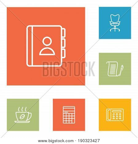 Set Of 6 Bureau Outline Icons Set.Collection Of Contacts, Workplace, Counter And Other Elements.