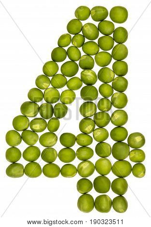 Arabic Numeral 4, Four, From Green Peas, Isolated On White Background