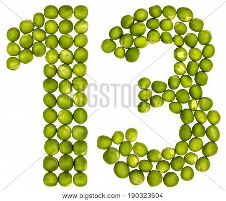 Arabic Numeral 13, Thirteen, From Green Peas, Isolated On White Background