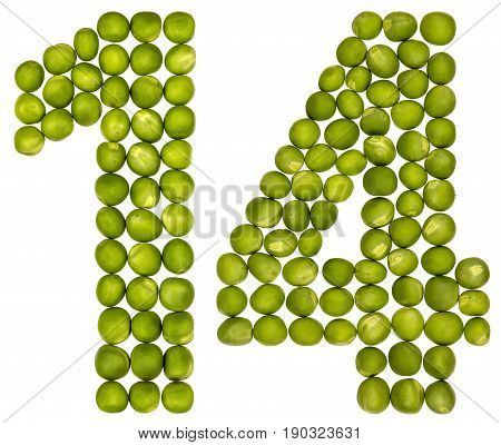 Arabic Numeral 14, Fourteen, From Green Peas, Isolated On White Background