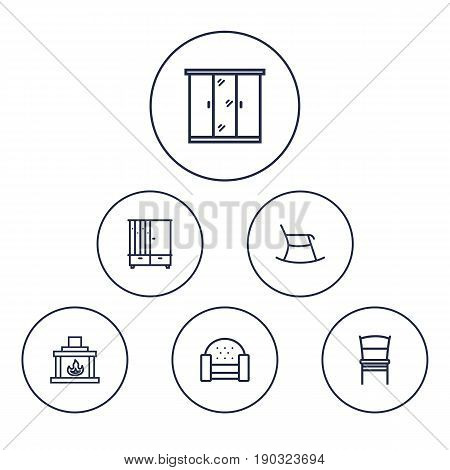 Set Of 6 Set Outline Icons Set.Collection Of Hall Tree, Closet, Chair And Other Elements.